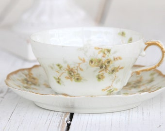 Antique Limoges Theodore Haviland France Tea Cup and Saucer Harrison Rose Pattern Cottage Style Housewarming Gift Inspiration c. 1895 - 1903