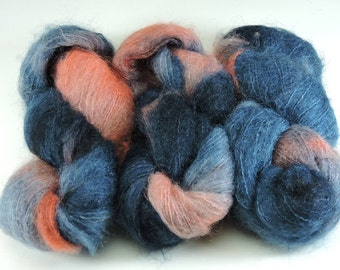 Hand Dyed Mohair Yarn Blue Orange Coral 2501