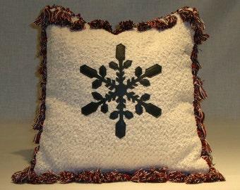 Forest Green Leather Snowflake Pillow on Winter White Chenille w/Tassels & Dark Green Velvet Back 12 x 12 w/Down Fill (Made to Order)