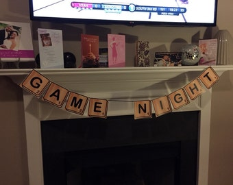 Game Night banner | Scrabble style Game Night banner