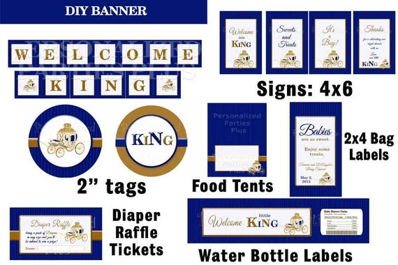 """SALE: Royal King baby shower party kit with banner, signs, food tents, 2"""" labels and treat bag labels"""