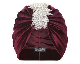 Sophia Leaf Turban in Purple