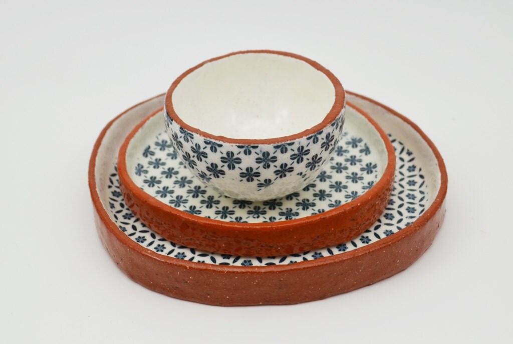 3er pack gemustert geschirr keramikplatten vintage look. Black Bedroom Furniture Sets. Home Design Ideas