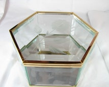 vintage CRYSTAL ARTS Cut Glass 6 Inch six sided Box from the Crystal Arts shop at Disneyland 1989