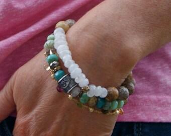 Mooonstone stretch boho bracelet - luscious gemstone layering jewelry, exotic chakra stone, chic summer bohemian jewelry