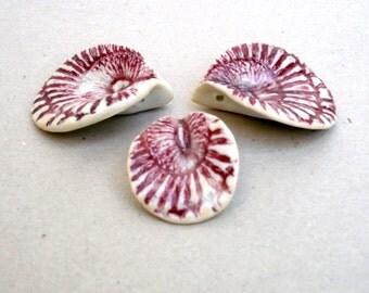 Porcelain Leaf  Pendants,Marsala Lace  Ceramic Pendants, Table Decor  Wedding Decor