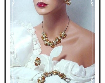 Juliana Wire Over Parure -  D&E Bracelet, Necklace and Earrings - Summertime Amber Citrine Rhinestones   Para-815a-032609155