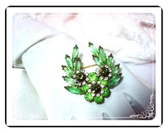 Darling Green Navette Brooch D&E Juliana  735a-011609035