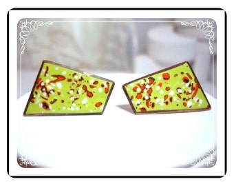 Copper Enameled Earrings -  Shades of 1960's E306a-04081200