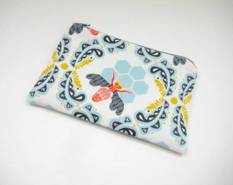 Bee Pouch, Honeybee Cell Phone Case, Accessory Pouch, Cosmetic Bag, Gadget Pouch