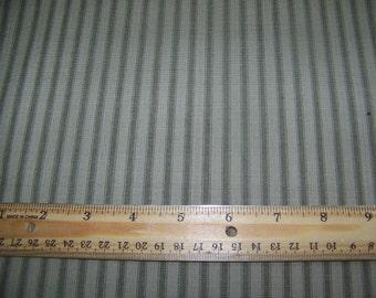1 Yard Cotton Homespun Sage Green Light Beige Ticking Stripe Fabric