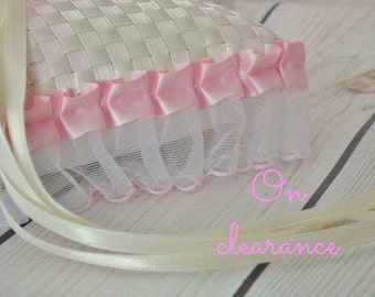 IVORY and PINK wedding ring pillow, pink and ivory satin ribbon pillow, pleated pink ruffle trim, pink ring bearer cushion, ready to ship
