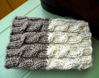 Ready to ship!! Hand knitted 2 ways to wear Boot cuffs Cable knit Taupe Tweed with Ivory Tweed Leg Warmers Boot Toppers Knit Boot Socks
