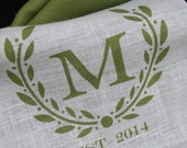 Monogramed Burlap Table Runner  with Laurel Wreath    Color Cotton