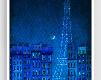 The lights of the Eiffel tower - Paris illustration Art illustration Art Poster Wall art Paris Home decor Living room art Blue Architecture