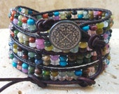 Mix#2 Gemstone Rondelle Beaded Leather 4-Wrap Bracelet