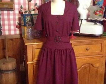 1940s burgundy dress
