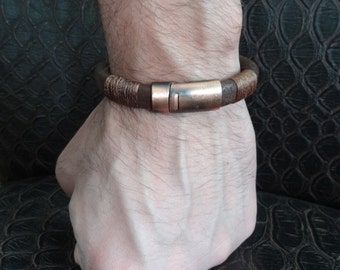 Men's Chocolate Brown Leather Bracelet, Men's Jewelry,  Antiquing Magnet Clasp Bracelet Men's Cuff Bracelet, Valentine's Gifts