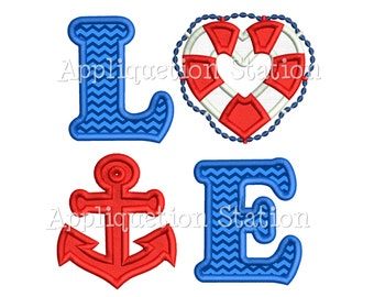 LOVE Nautical Anchor Applique Machine Embroidery Design Pattern life ring INSTANT DOWNLOAD