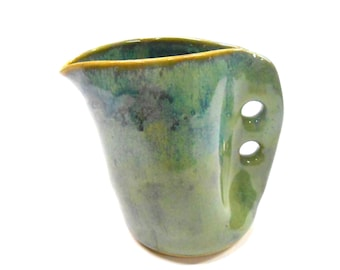 Pottery Altered Pitcher, Ceramic Creamer, Pottery Syrup Pitcher, Pottery Gravy Boat, Wheel Thrown Altered Pitcher, Small in Green Blue