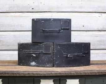 Vintage Industrial Triangular Bins--Industrial Storage Bins