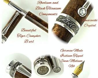Custom Wooden Pen Fountain Pen Beautiful Tiger Camphor Burl  Rhodium and Black Titanium Hardware 788FPD
