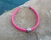 Vintage Silver Flower Charm on a Pink Leather Bracelet or Anklet !
