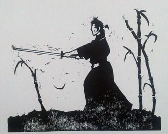 Samurai #2 - linocut black and white print