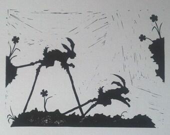 The Rabbits - linocut black and white print