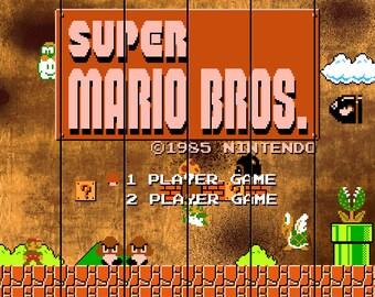 Video Game Art - Super Mario Bros - Digital Art Print - Nintendo Tribute