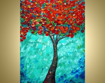 Print on Canvas Tree Flowers Landscape from Painting Red Blossom Turquoise Morning Art by Luiza Vizoli
