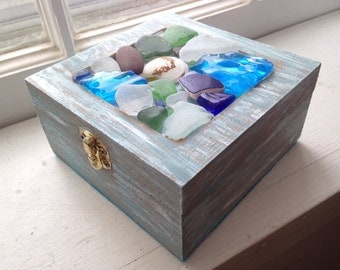 Sea-glass decorated jewelry box.