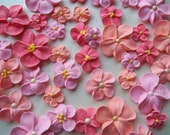 Peach and pink royal icing flowers -- Cake decorations cupcake toppers edible (48 pieces)