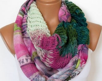 Woven Cowl, Cotton Fabric Scarf with Block Crochet Filet, Soft scarf in emerald pink, Infinity, Circular Scarf, Loop Scarf, SCARVES