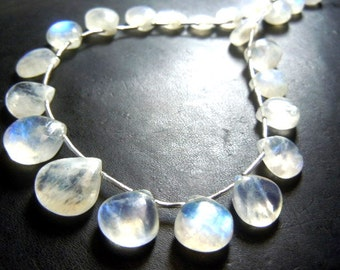 Rainbow Moonstone Beads Rainbow Moonstone  Gemstone Smooth Briolette Heart  Drops Size 6 - 10MM Approx 8''  AAA Quality  Wholesale Price