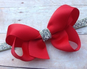 Red silver boutique bow headband - red baby headband, red & silver headband, silver headband, Christmas headband