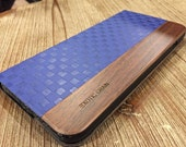 WOOD  IPHONE 6 PLUS case cobalt blue checkered leather,hand polished exotic bios de rose wood.
