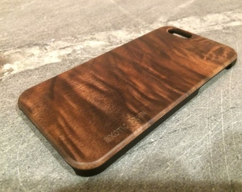 IPHONE 6 CASE exotic black walnut wood,real wood, black  sharp  looking edges