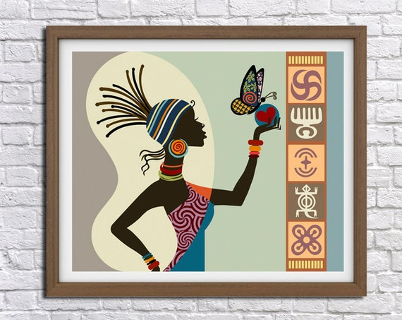 African Woman Art Afrocentric Art Afrocentric Decor by