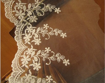 ivory lace trim , cotton embroidered mesh lace with scalloped trim, retro floral bridal lace