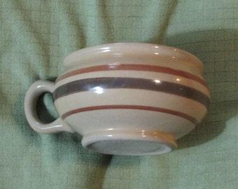Pair of Lipton Soup Jumbo Soup mugs Brown stripes Stacking