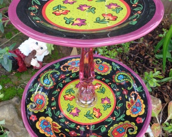 Pink paisley/floral 2 tier dessert stand