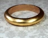 RESERVED FOR CATHY Thin gold bangle bracelet Gold leafed wood bangle Distressed gold bracelet Stack bracelet Wooden bracelet