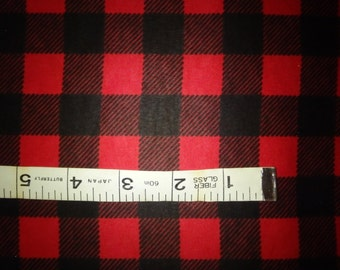 "Swatch - Red & Black Buffalo Plaid, Lumberjack Flannel, Cotton Flannel Fabrics - 5"" Fabric Sample"