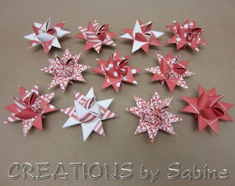 Moravian Paper Stars Set of 11 Chrismas Red White Origami Froebel Star Decoration Stripes Polka Dots Pattern / READY TO SHIP (76)