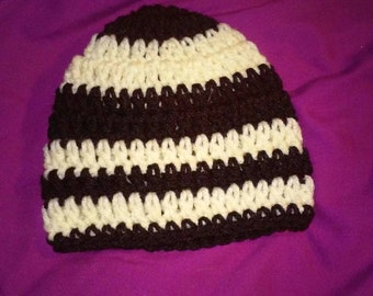 Black and white striped baby hat