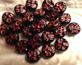 Czech Glass BLACK MOON FACES 9mm Bead Red Inlay