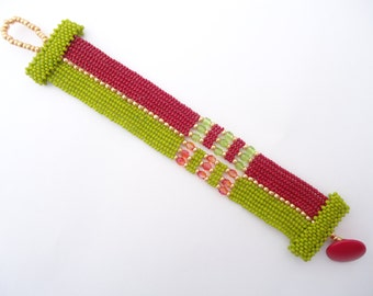 Conjoined Cuff - Green Red and Gold - Czech Seed Beads Firepolished