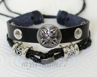 474 Men's black leather bracelet Shield bracelet Cross bracelet Charm bracelet Punk bracelet Hiphop men jewelry Gift For men and boy
