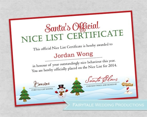 Items similar to Personalized Santa's Official Nice List Certificate ...